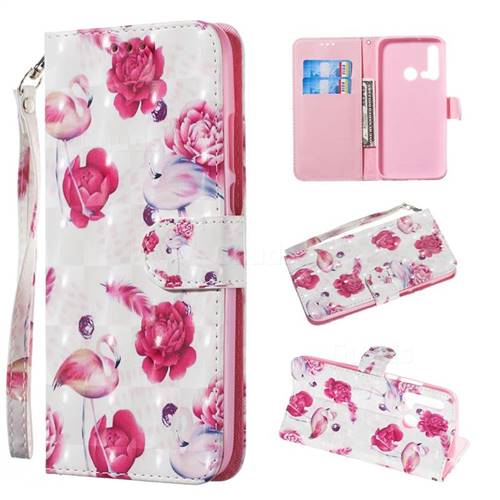 Flamingo 3D Painted Leather Wallet Phone Case for Huawei nova 5i