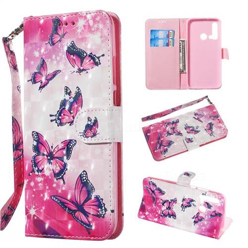 Pink Butterfly 3D Painted Leather Wallet Phone Case for Huawei nova 5i