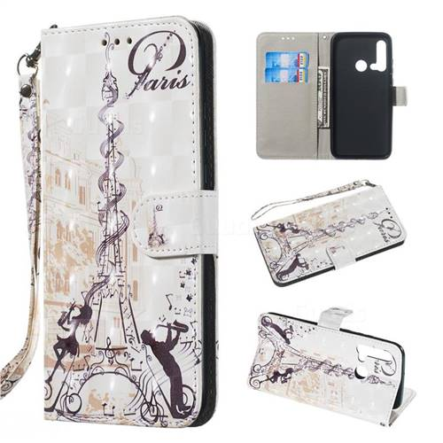 Tower Couple 3D Painted Leather Wallet Phone Case for Huawei nova 5i
