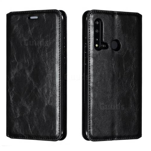 Retro Slim Magnetic Crazy Horse PU Leather Wallet Case for Huawei nova 5i - Black