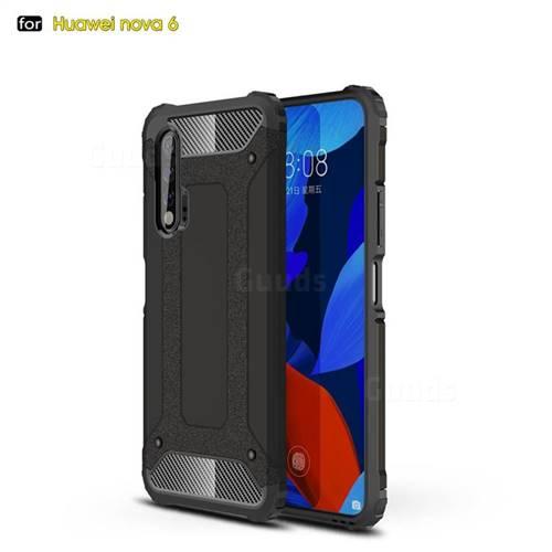 King Kong Armor Premium Shockproof Dual Layer Rugged Hard Cover for Huawei nova 6 - Black Gold