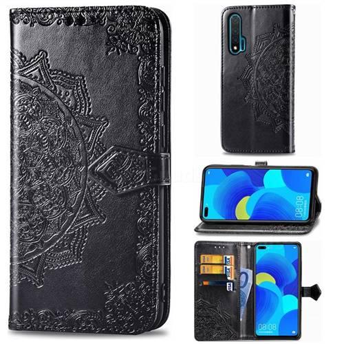 Embossing Imprint Mandala Flower Leather Wallet Case for Huawei nova 6 - Black