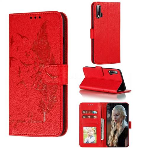 Intricate Embossing Lychee Feather Bird Leather Wallet Case for Huawei nova 6 - Red