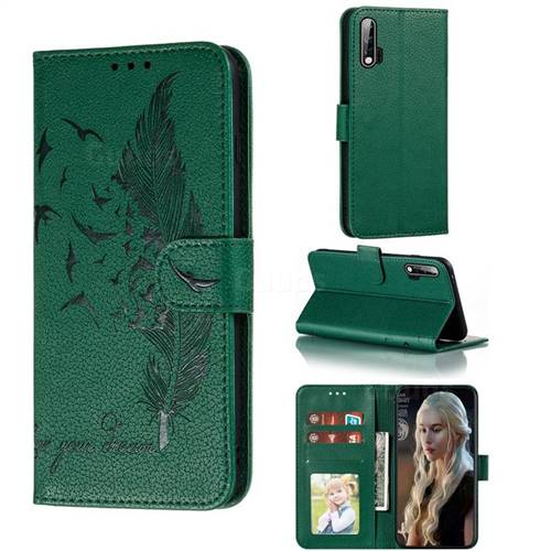 Intricate Embossing Lychee Feather Bird Leather Wallet Case for Huawei nova 6 - Green