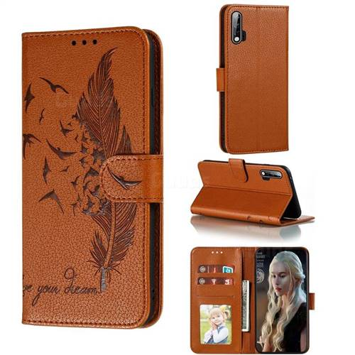 Intricate Embossing Lychee Feather Bird Leather Wallet Case for Huawei nova 6 - Brown