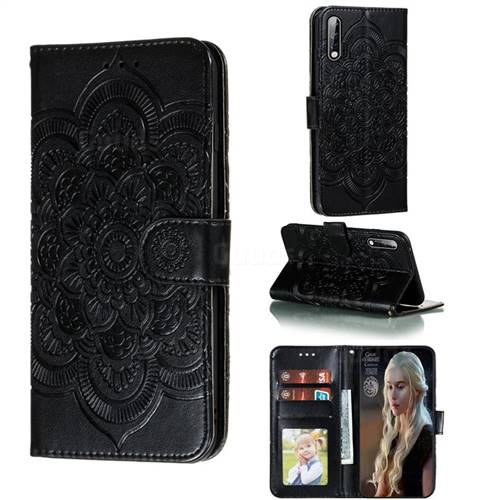 Intricate Embossing Datura Solar Leather Wallet Case for Huawei nova 6 - Black