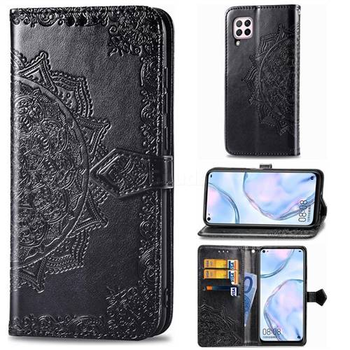 Embossing Imprint Mandala Flower Leather Wallet Case for Huawei nova 6 SE - Black