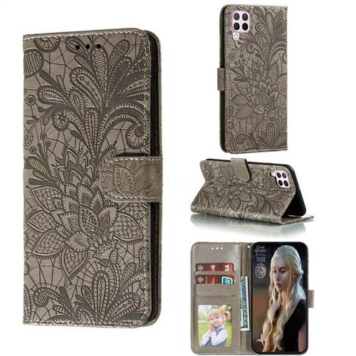 Intricate Embossing Lace Jasmine Flower Leather Wallet Case for Huawei nova 6 SE - Gray