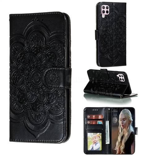 Intricate Embossing Datura Solar Leather Wallet Case for Huawei nova 6 SE - Black