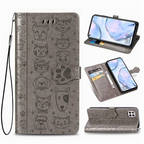 Embossing Dog Paw Kitten and Puppy Leather Wallet Case for Huawei nova 6 SE - Gray
