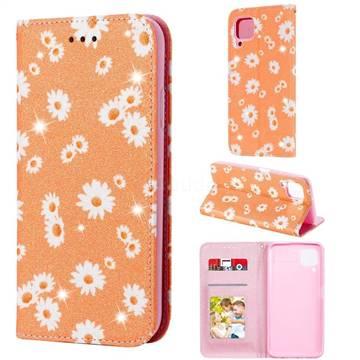 Ultra Slim Daisy Sparkle Glitter Powder Magnetic Leather Wallet Case for Huawei nova 6 SE - Orange