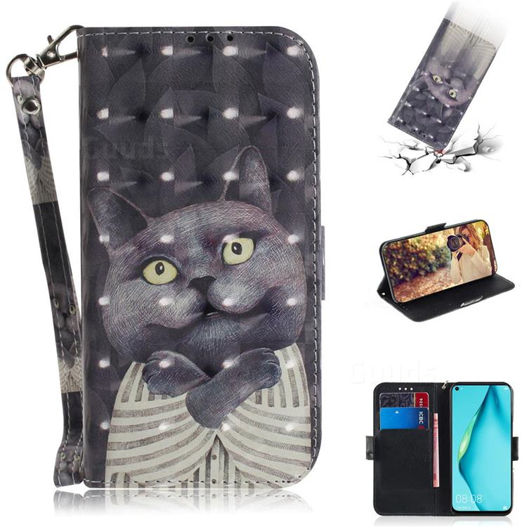 Cat Embrace 3D Painted Leather Wallet Phone Case for Huawei nova 6 SE