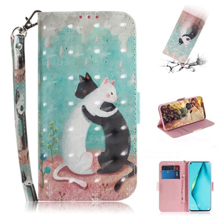 Black and White Cat 3D Painted Leather Wallet Phone Case for Huawei nova 6 SE
