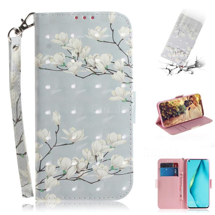 Magnolia Flower 3D Painted Leather Wallet Phone Case for Huawei nova 6 SE