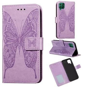 Intricate Embossing Vivid Butterfly Leather Wallet Case for Huawei nova 6 SE - Purple