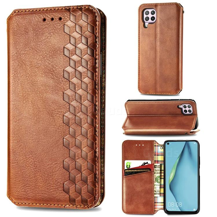 Ultra Slim Fashion Business Card Magnetic Automatic Suction Leather Flip Cover for Huawei nova 6 SE - Brown