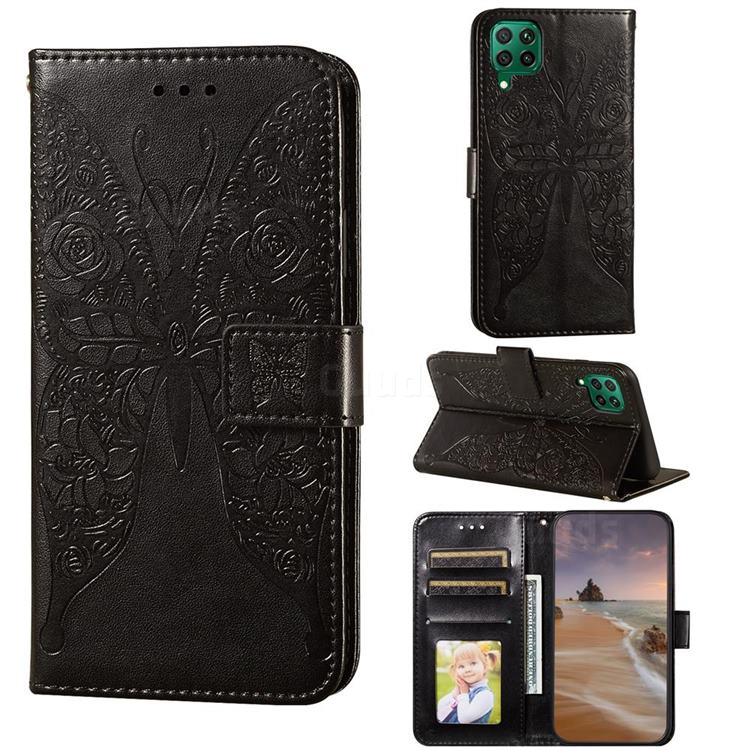 Intricate Embossing Rose Flower Butterfly Leather Wallet Case for Huawei nova 6 SE - Black