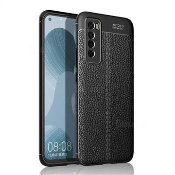 Luxury Auto Focus Litchi Texture Silicone TPU Back Cover for Huawei nova 7 5G - Black