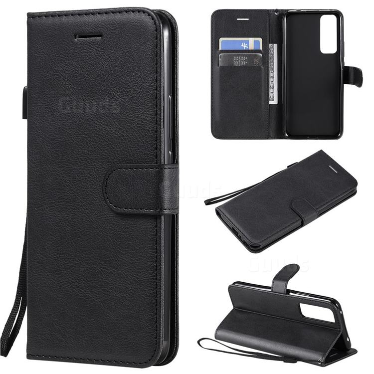 Retro Greek Classic Smooth PU Leather Wallet Phone Case for Huawei nova 7 5G - Black