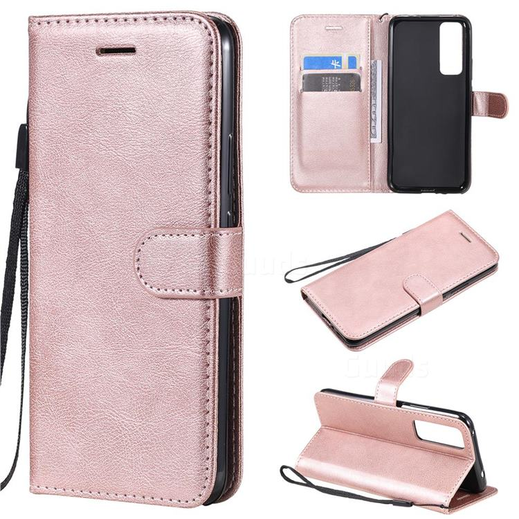Retro Greek Classic Smooth PU Leather Wallet Phone Case for Huawei nova 7 5G - Rose Gold