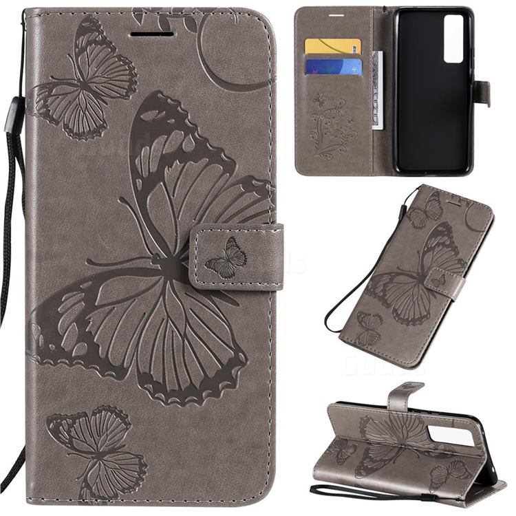 Embossing 3D Butterfly Leather Wallet Case for Huawei nova 7 5G - Gray
