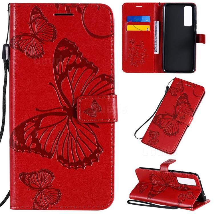 Embossing 3D Butterfly Leather Wallet Case for Huawei nova 7 5G - Red