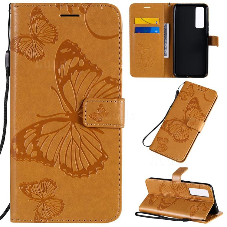 Embossing 3D Butterfly Leather Wallet Case for Huawei nova 7 5G - Yellow