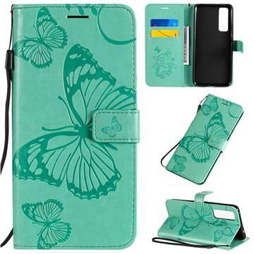 Embossing 3D Butterfly Leather Wallet Case for Huawei nova 7 5G - Green