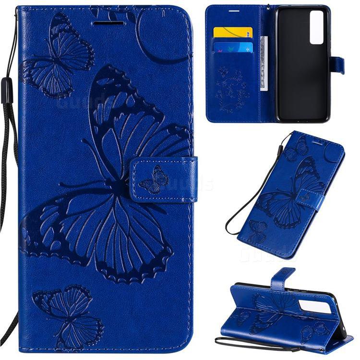 Embossing 3D Butterfly Leather Wallet Case for Huawei nova 7 5G - Blue