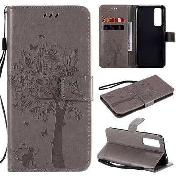Embossing Butterfly Tree Leather Wallet Case for Huawei nova 7 5G - Grey