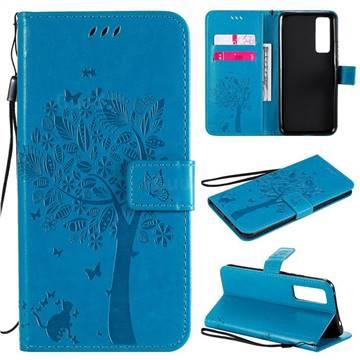 Embossing Butterfly Tree Leather Wallet Case for Huawei nova 7 5G - Blue