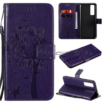 Embossing Butterfly Tree Leather Wallet Case for Huawei nova 7 5G - Purple