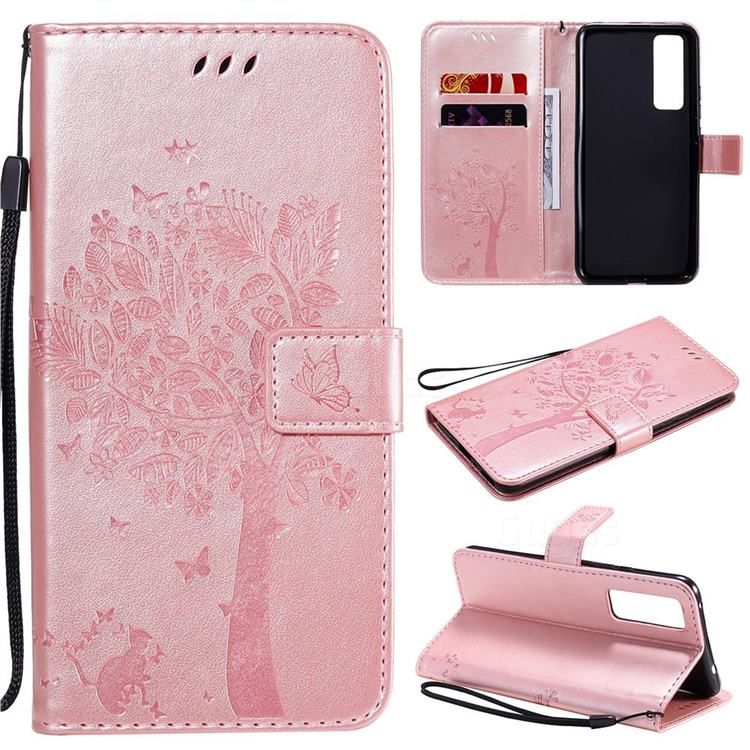 Embossing Butterfly Tree Leather Wallet Case for Huawei nova 7 5G - Rose Pink