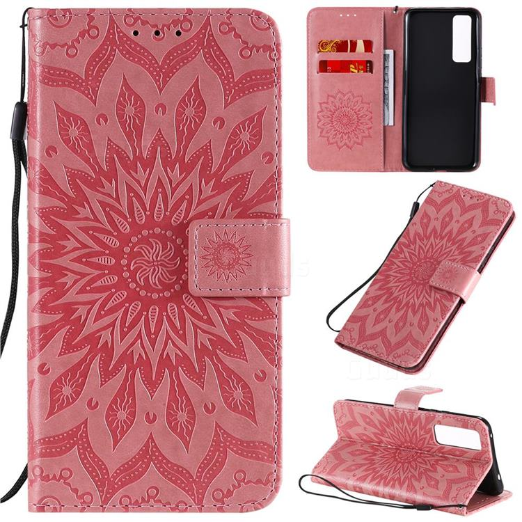 Embossing Sunflower Leather Wallet Case for Huawei nova 7 5G - Pink