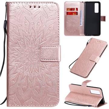 Embossing Sunflower Leather Wallet Case for Huawei nova 7 5G - Rose Gold