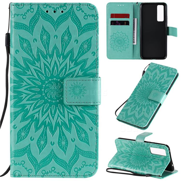 Embossing Sunflower Leather Wallet Case for Huawei nova 7 5G - Green