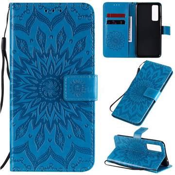 Embossing Sunflower Leather Wallet Case for Huawei nova 7 5G - Blue