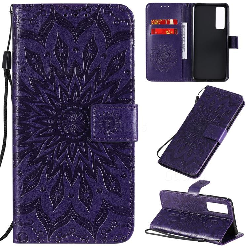 Embossing Sunflower Leather Wallet Case for Huawei nova 7 5G - Purple