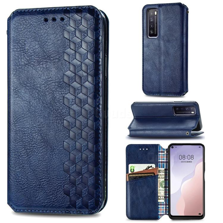 Ultra Slim Fashion Business Card Magnetic Automatic Suction Leather Flip Cover for Huawei nova 7 5G - Dark Blue