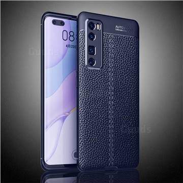 Luxury Auto Focus Litchi Texture Silicone TPU Back Cover for Huawei nova 7 Pro 5G - Dark Blue