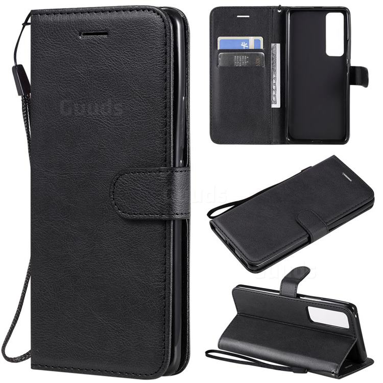 Retro Greek Classic Smooth PU Leather Wallet Phone Case for Huawei nova 7 Pro 5G - Black