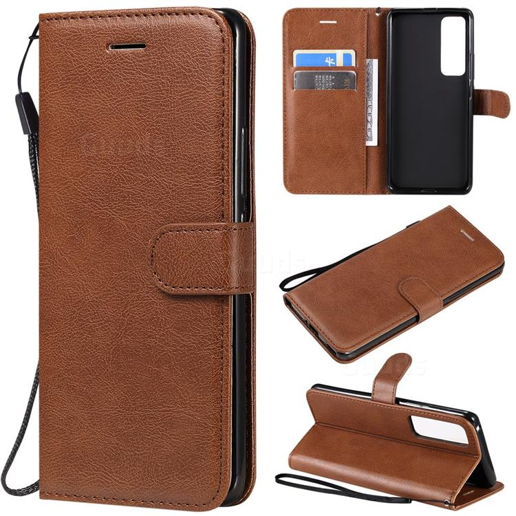Retro Greek Classic Smooth PU Leather Wallet Phone Case for Huawei nova 7 Pro 5G - Brown