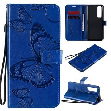 Embossing 3D Butterfly Leather Wallet Case for Huawei nova 7 Pro 5G - Blue