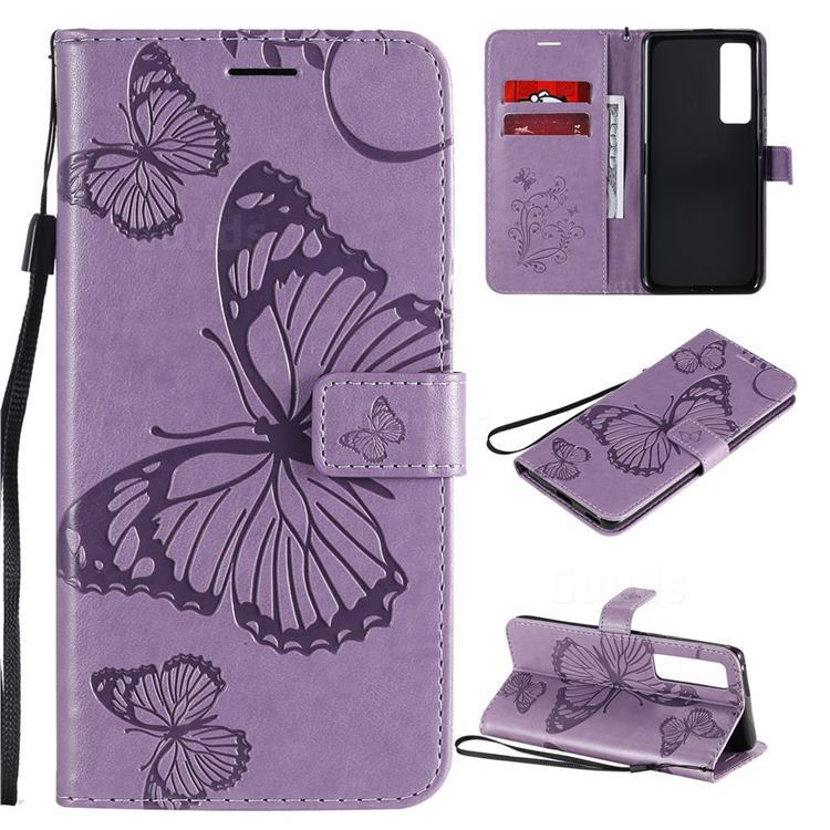 Embossing 3D Butterfly Leather Wallet Case for Huawei nova 7 Pro 5G - Purple