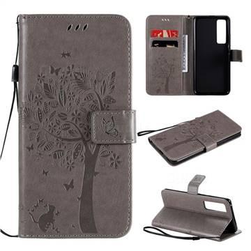 Embossing Butterfly Tree Leather Wallet Case for Huawei nova 7 Pro 5G - Grey