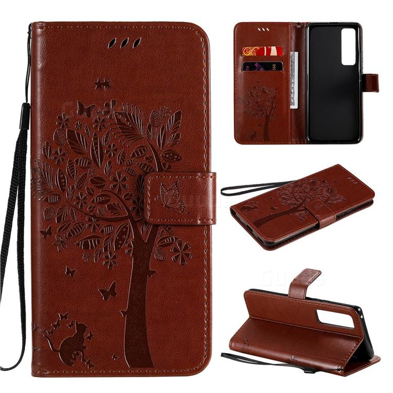 Embossing Butterfly Tree Leather Wallet Case for Huawei nova 7 Pro 5G - Coffee