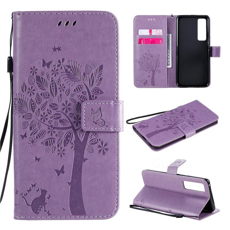 Embossing Butterfly Tree Leather Wallet Case for Huawei nova 7 Pro 5G - Violet