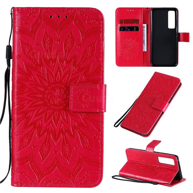 Embossing Sunflower Leather Wallet Case for Huawei nova 7 Pro 5G - Red