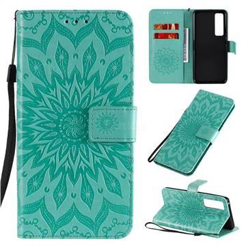 Embossing Sunflower Leather Wallet Case for Huawei nova 7 Pro 5G - Green