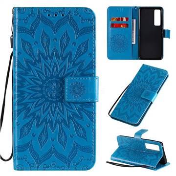 Embossing Sunflower Leather Wallet Case for Huawei nova 7 Pro 5G - Blue